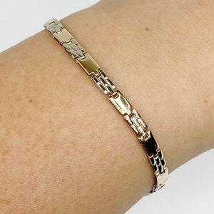 """14k Gold Two-Tone Fancy Link Bracelet 7"""""""